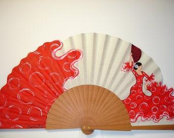 """Spanish fan/hand-painted fan/flamenco fan/wood fan """"Seville Airs"""""""