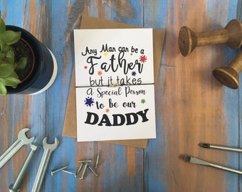 Special Person to be our daddy / A6 postcard print / Wish Bracelet / Badge / Magnet / Keyring / Father's Day Gift Present / Dad / DD388