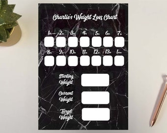 Downloadable  Weight loss Chart Tracker Slimming Goal Watchers Journey Record Planner Reward Chart 1-10 Stone Black Marble DD1501