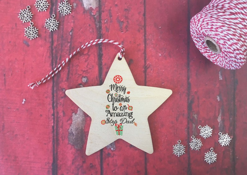 Wooden Hanging Star Merry Christmas to an amazing Mam Personalised Message on Back  Thanks Appreciation Thankyou Gift Xmas DD506