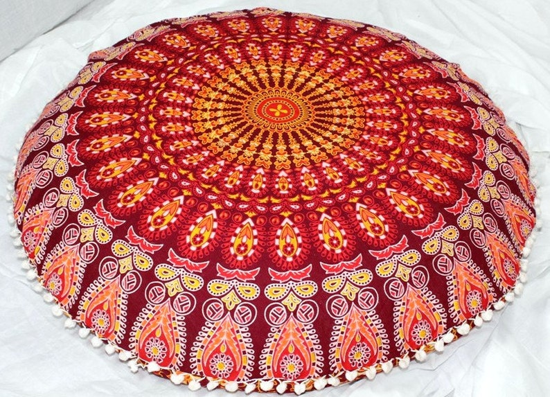 Indian large floor cushion cover mandala pillow floor pillow image 0