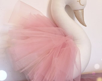 Princess swan - big soft sculpture,decorative swan pillow. Faux taxidermy, plush taxidermy, nursery decor, kids room decor, wall decor.