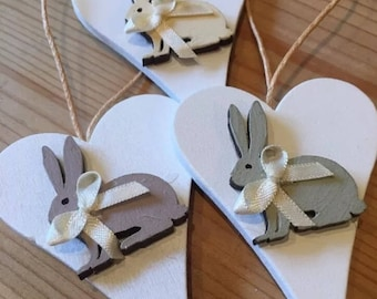 Easter Bunny Hanging Decorations x 3 Handmade Hand Painted