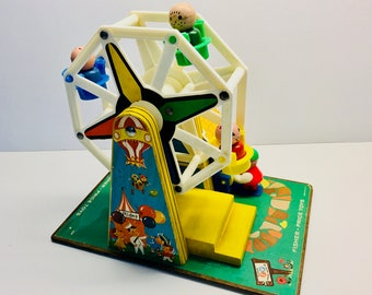 Vintage Fisher Price Little People Music Box 'Ferris Wheel'  #969 With 4 Wooden Little People, Made in USA - WORKS