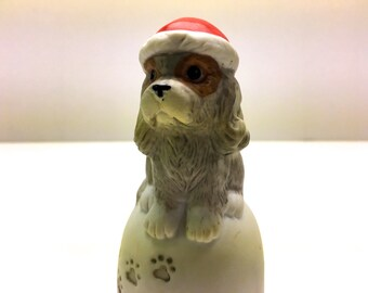 Vintage Porcelain Christmas Bell, Puppy With Santa Bell Wearing A Santa Hat