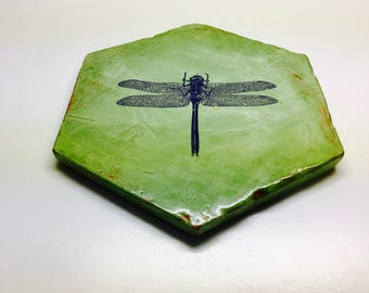 """Handmade Shabby-Chic Trivet with a Dragonfly Design, Terra-cotta Tile with Green Glazed Top and Sides -7 3/4"""""""