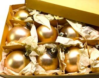 Vintage Christmas Ornaments Set of 12, Vintage Plastic Pearl Finish.