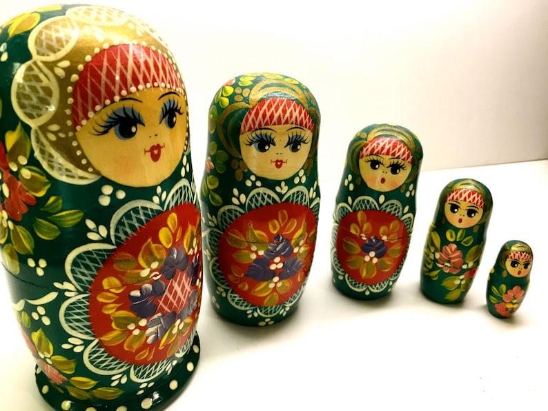 Puppen & Zubehör 5Stück/Set Hand Bemalt Holz Puppe Russische Matroschka Babuschka Matrjoschka