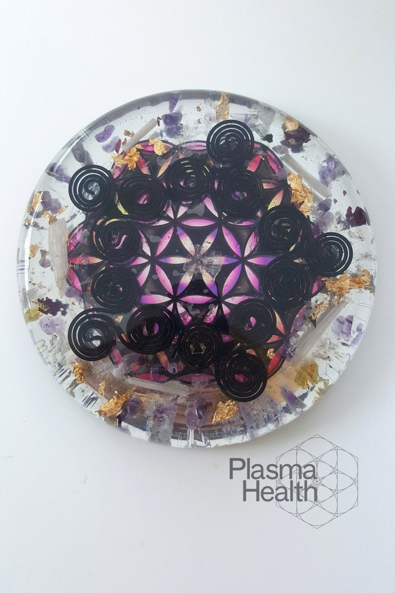 Large Plasma Charging Disc with Purple Flower of Life