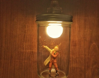 Tintin lamp made with recycled materials