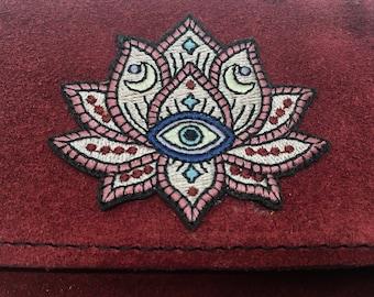 Burgundy suede lotus bag