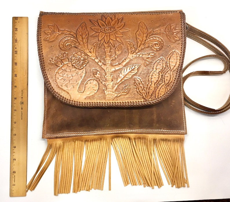 Cosmic cactus tooled leather messenger bag