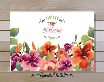 Watercolor illustration of hibiscus with leaves for your design decor