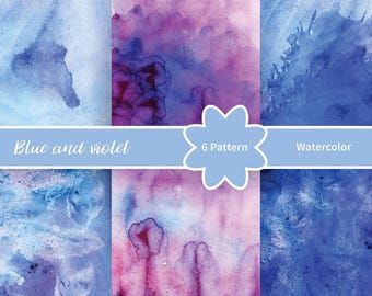 Blue and violet watercolor Abstract background. Ideal for greeting cards, web interfaces | Watercolor Graphics / Watercolor Clipart Set