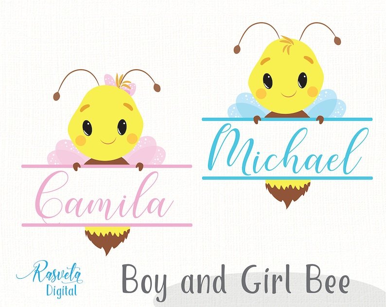Funny Flying Bee Boy And Girl Monogram Clip-art Cut Or Print Cute Bumblebee Baby Shower New Baby Gender Neutral Valentines Kawaii Spring