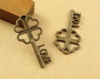 Bulk Lot 100pcs of 26x13mm Vintage Key Love Charm Pendants Connector Wholesale Charms Antique Bronze Jewelry Findings PA1424-A2467