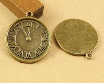 Bulk Lot 40pcs of 24mm Clock Charm Pendants Connector Wholesale Charms Antique Bronze Jewelry Findings PA1574-A1656