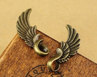 Bulk Lot 50pcs of 24x9mm Wing Charm Pendants Connector Wholesale Charms Antique Bronze Jewelry Findings PA1373-A1253