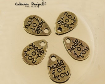 """Bulk Lot 100pcs of 12x8mm """"Made for You"""" Charm Pendants Wholesale Charms Antique Bronze Jewelry Findings PA0936-A1249"""
