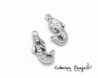 Wholesale charms etsy bulk lot 50pcs of 22x12mm vintage mermaid charm pendants connector wholesale charms antique silverjewelry findings gy036 aloadofball Gallery