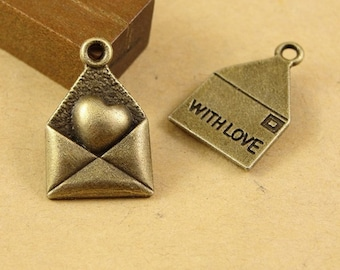 Bulk Lot 100pcs of 18x12mm Envelope with Love Heart Charm Pendants Connector Wholesale Charms Antique Bronze Jewelry Findings PA1150-A1677