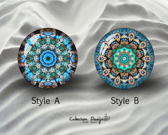 "Crystal Dome Button Kaleidoscope Blue//Aqua 1 /""  FREE US SHIPPING"