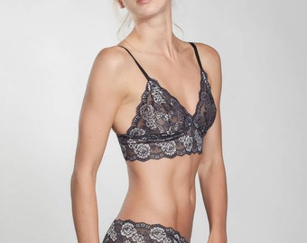 Silver lingerie set -French Lace - Longline Bralette - French Knickers - Lace Bralette-see through lingerie-bra and panty set-sheer lingerie