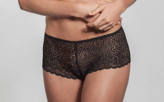 Black Hipster-French Knickers-Lace panty exclusive lingerie  bf572891f