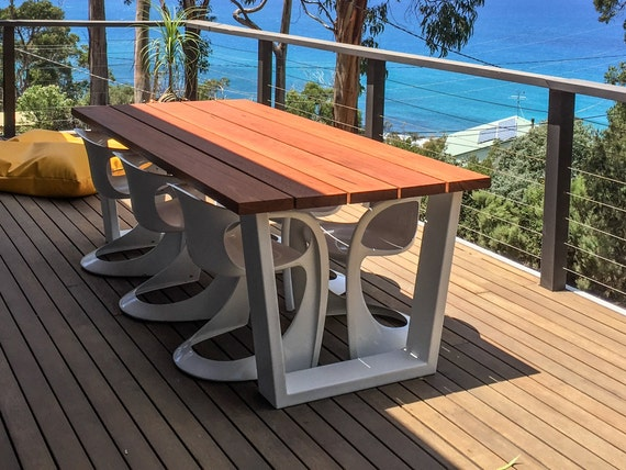Blackbutt Timber Outdoor Dining Table Featuring Powder Coated Etsy