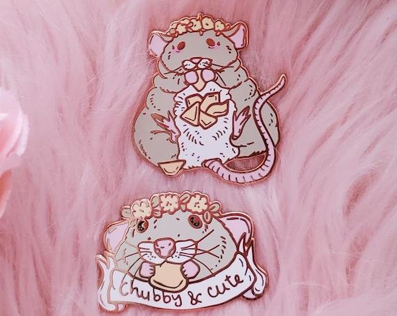 Chubby Rat Spring Trash Animals Hard Enamel Pin Gold Metal