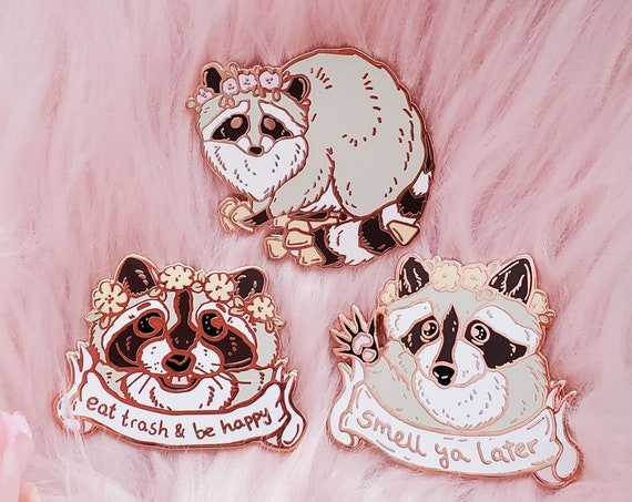 Trash Panda Raccoon Spring Trash Animals Hard Enamel Pin Gold Metal
