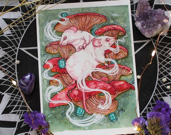 May Birthstone Emerald Affection Mushroom Rat and Emerald Fine Art Print