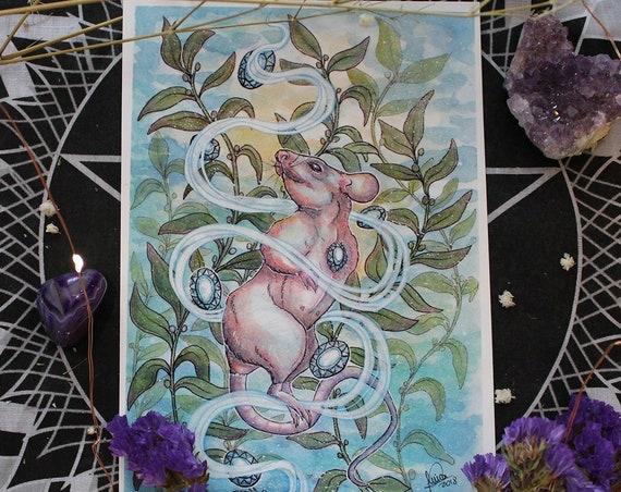 March Birthstone Aquamarine Depths Rat and Birthstone Fine Art Print