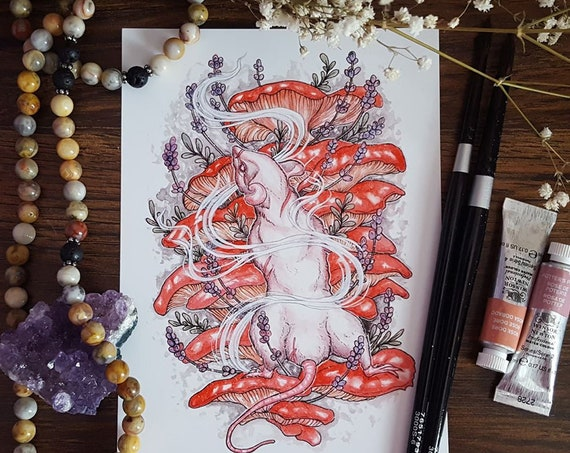 Climb Fine Art Print Lavender Mushroom Rat