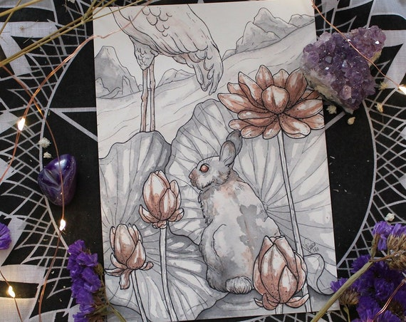 Bunny and Lotus Inktober Original Painting