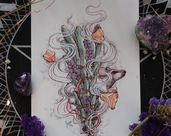November Birthstone Citrine Dreams Rat and Smudge Stick Fine Art Print