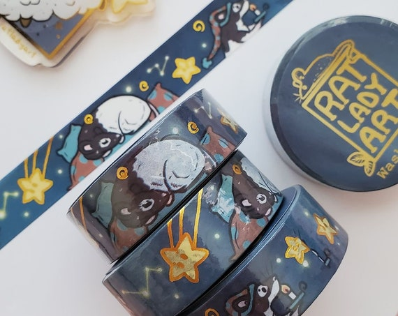 Starry Night and Sleeping Rats Gold Foil Washi Tape