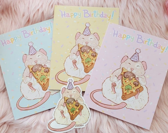 "Unique Birthday Pizza Rat Cards - 5.5"" x 4"" Folded - Linen Texture"