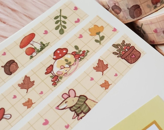 Forager Rats and Mushrooms Grid Washi Tape