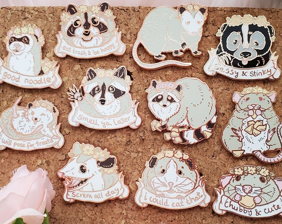 Spring Trash Animals Hard Enamel Pin Gold Metal Rat Raccoon Possum Hedgehog Skunk Ferret Guinea Pig