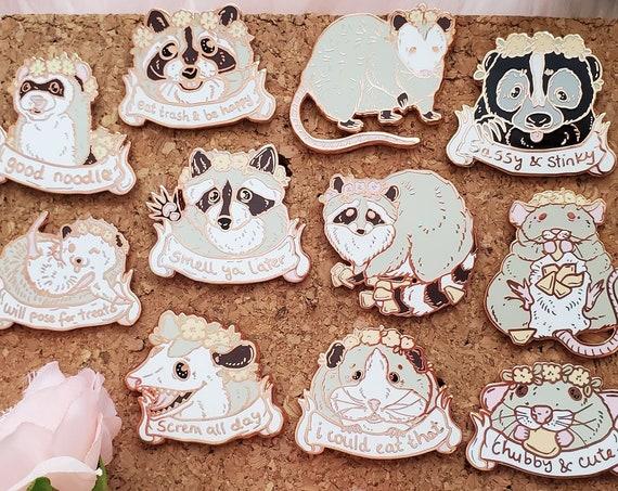 ON SALE Spring Trash Animals Hard Enamel Pin Gold Metal Rat Raccoon Possum Hedgehog Skunk Ferret Guinea Pig