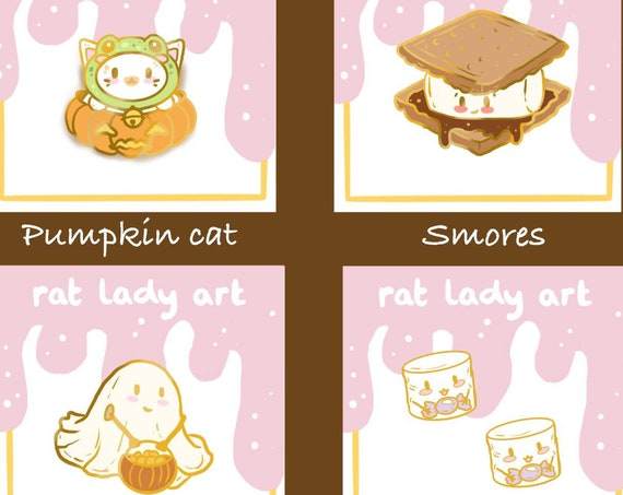 PREORDER Halloween Collection Cat and Frog Hat Marshmallow Filler Pin Ghost and Smores Hard Enamel Pins