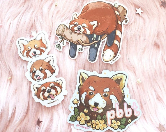 Red Panda Blep and Flowers Die-Cut Holographic and Clear Stickers