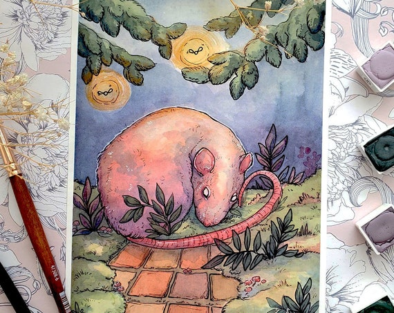 Restless Cute Rat and Flora Fine Art Print