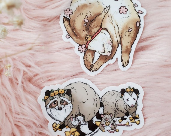 Chonk Squad and Napping Ferret Die-Cut Vinyl Stickers Trash Panda Opossum Rat