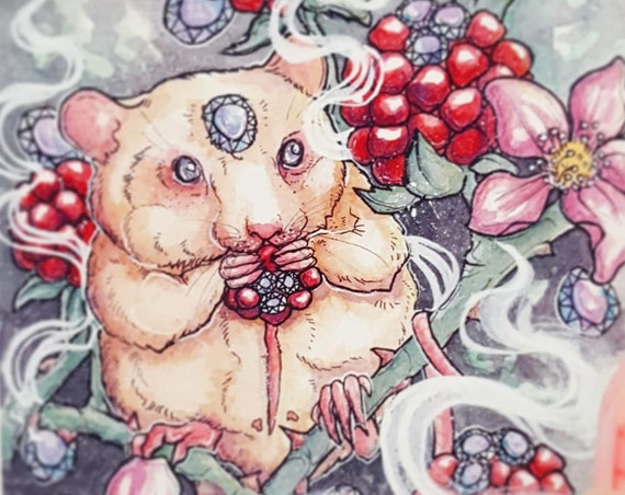 June Birthstone Alexandrite Apparition Fine Art Print Rat and Berries