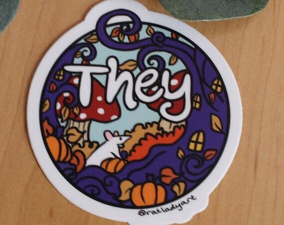 They/Them Nonbinary Halloween Matte Weatherproof Die-Cut Vinyl Stickers