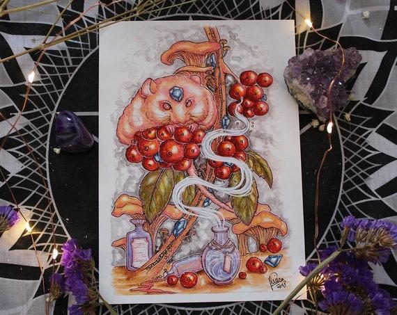 September Birthstone Sapphire Sprouts Fine Art Print Gemstone Dormouse