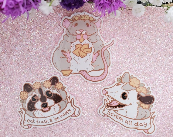 Spring Trash Animals and Flowers Die-Cut Vinyl Stickers Trash Panda Opossum Rat