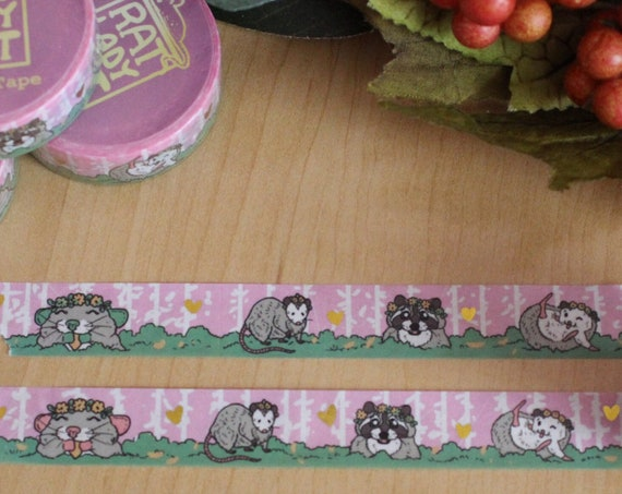 MISPRINT Spring Trash Animals and Gold Hearts Gold Foil Washi Tape
